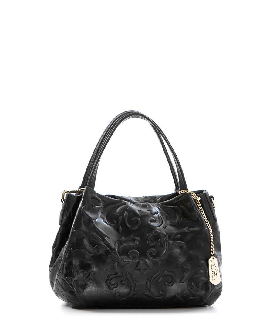 Black embossed leather grab bag Sale - anna morellini