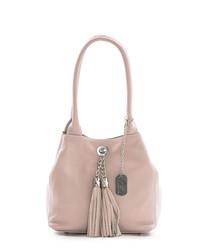 Pink leather double tassel shoulder bag