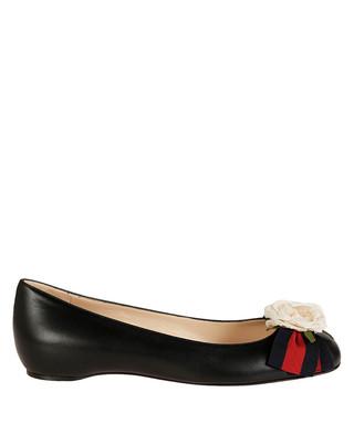 f27c8d7a068 Gucci. Women s black leather floral flats
