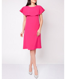 Pink ruffle neck midi dress
