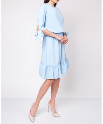 Pastel blue ruffle hem dress