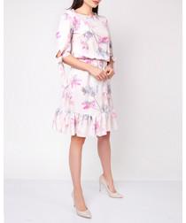 Pink & grey floral ruffle hem dress