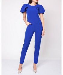 Cobalt tailored frill sleeve jumpsuit