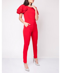 Red tailored frill sleeve jumpsuit