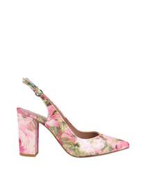 Pink floral slingback heels
