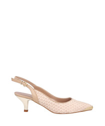 Beige leather trim weave slingbacks