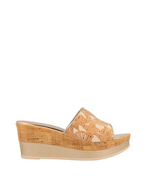 Beige cork-effect espadrille wedges