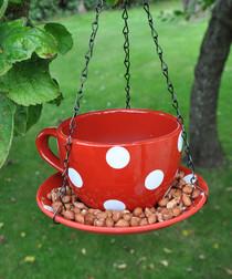 Red polka dot teacup bird feeder