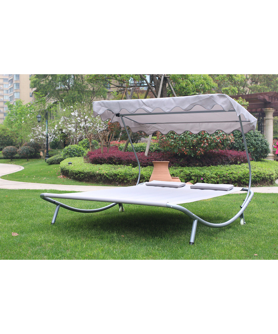 Silver double outside lounger & canopy Sale - Outdoor Sun Bed