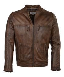 Timber leather collarless biker jacket