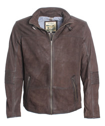 Chocolate leather zip flat collar jacket