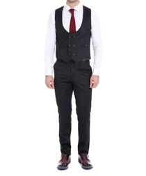 Black double-breasted waistcoat