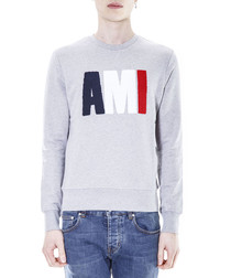 Grey pure cotton patched sweatshirt