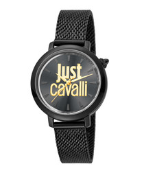 Black & gold-tone logo mesh strap watch
