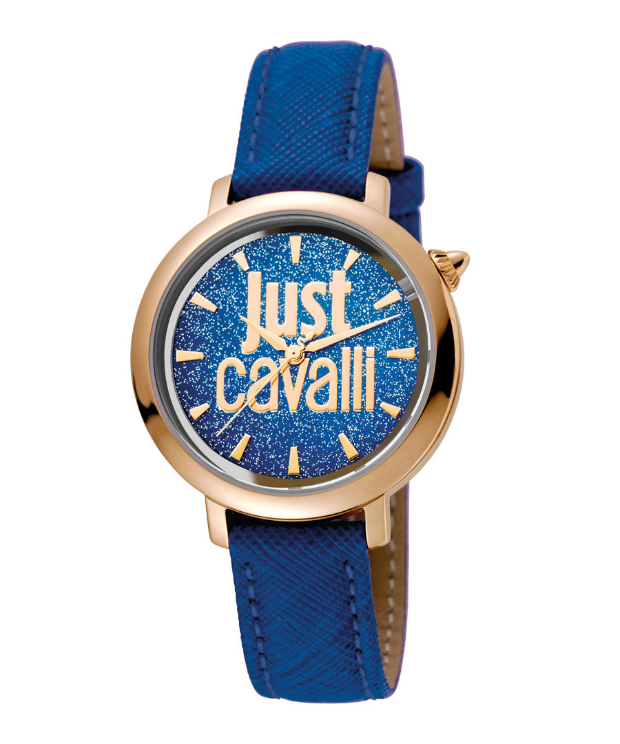 Blue & gold-tone glitter dial watch Sale - JUST CAVALLI