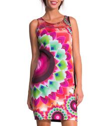Multi-coloured kaleidoscope print dress