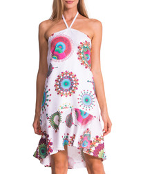 White cotton blend halterneck dress