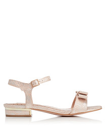 Ruby beige snake-effect bow sandals