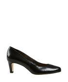 Lowe black leather snake-effect courts