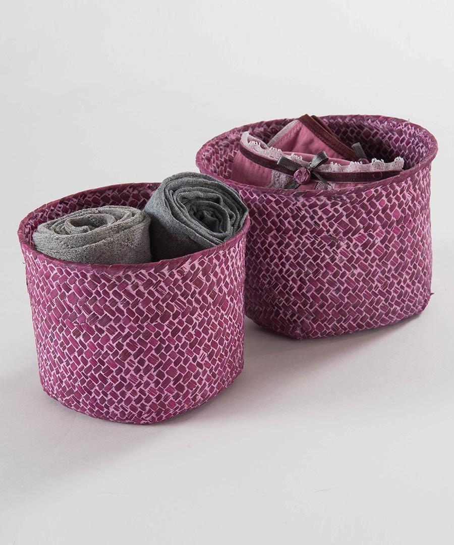 2pc pink weave basket set Sale - Compactor