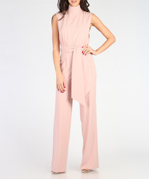 Light pink high-neck flared jumpsuit