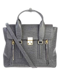 Pashli grey leather grab bag