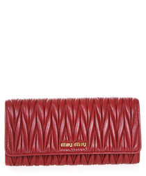 Flame red quilted leather flap purse