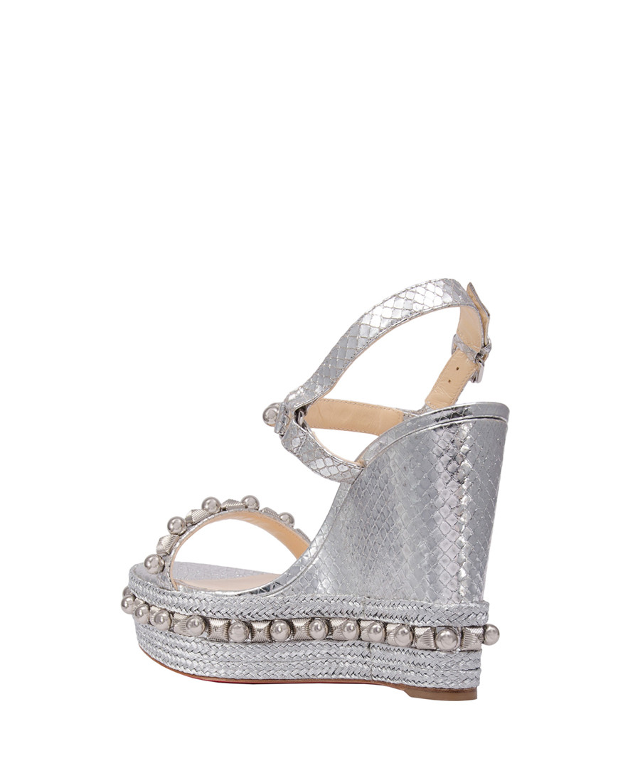 brand new 9fa7b b6077 Discount Cataconico silver-tone leather wedges | SECRETSALES