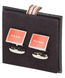 Red & silver-tone square logo cufflinks