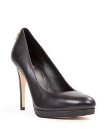 Black leather padlock detail heels