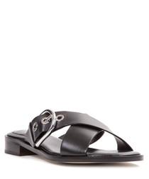 Black leather buckled sandal
