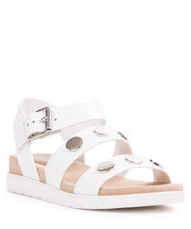 White leather studded sandals