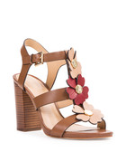 Toffee leather 3D floral heeled sandals