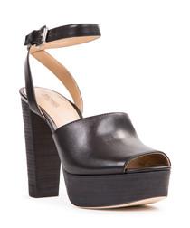 Black leather platform strappy heels