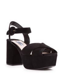 Black suede platform strap sandals