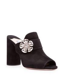 Black suede embellished mules