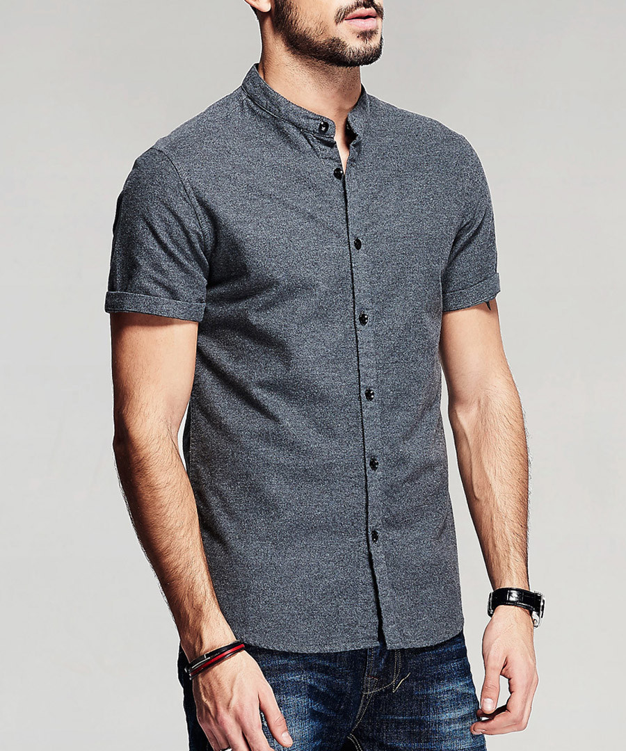Grey pure cotton short sleeve shirt Sale - kuegou