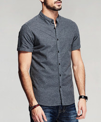 Grey pure cotton short sleeve shirt
