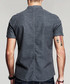 Grey pure cotton short sleeve shirt Sale - kuegou Sale