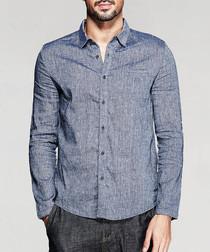 Blue linen & cotton long-sleeve shirt