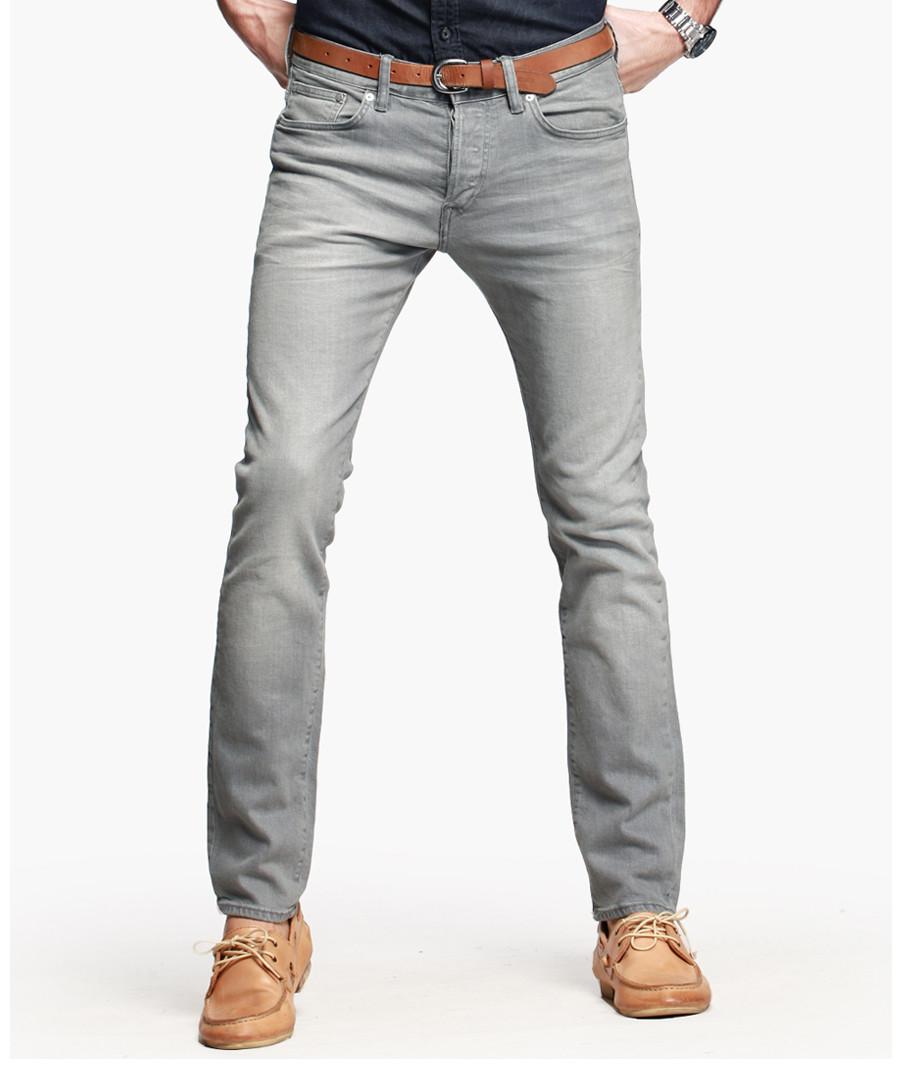 Light grey cotton blend jeans Sale - kuegou