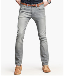 Light grey cotton blend jeans