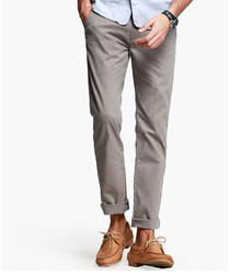 Coffee brown cotton blend trousers
