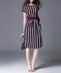 Red & midnight linen blend striped dress