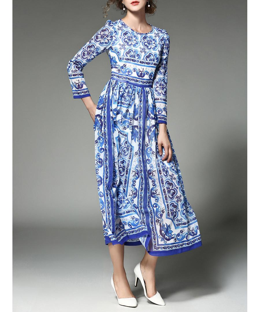 Blue & white printed midi dress Sale - yyfs