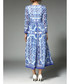 Blue & white printed midi dress Sale - yyfs Sale