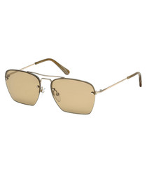 Walker brown & gold-tone sunglasses