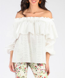 White pure cotton off-shoulder blouse