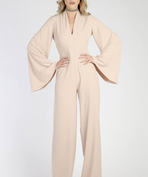 Beige split sleeve jumpsuit