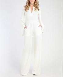 White statement sleeve jumpsuit
